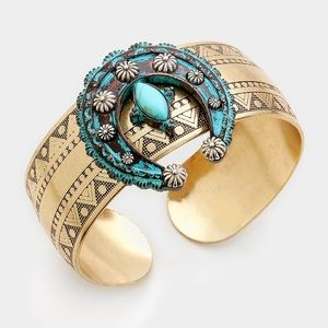 Jewelry - Turquoise detail tribal metal double horn cuff